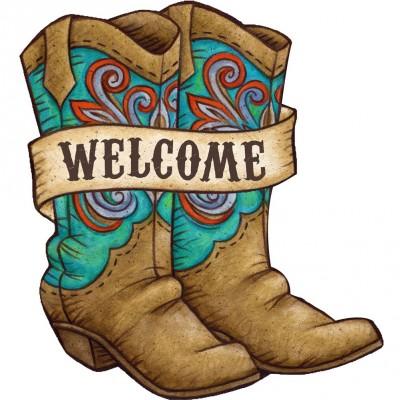 Ornement décoratif fait de PVC/ 10.75 pouces x 17 pouces  - Cowboy Boots Welcome