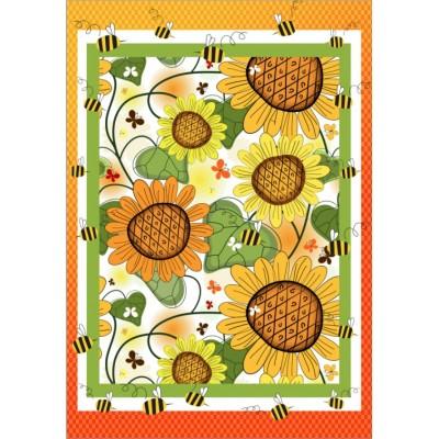Drapeau décoratif 28 x 40 pouces, Tournesols et abeilles