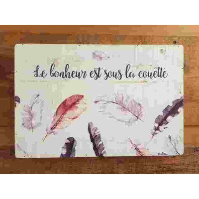 Art mural/ Plaque de Bois/ Le bonheur est sous la couette /24x36x1.8CM