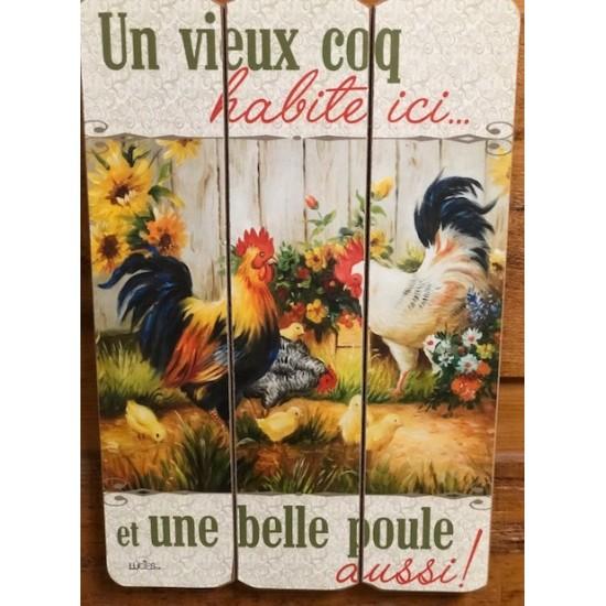 Art mural/ Plaque de Bois/Un vieux coq, Une belle poule.../24x36x1.8CM