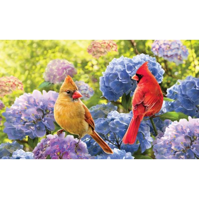 "Tapis décoratifs 30"" x 18"" Cardinals in Hydrangeas"