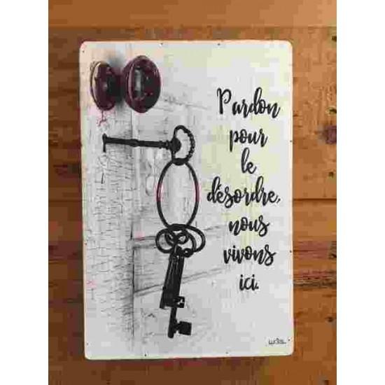 Art mural/ Plaque de Bois/Plaque de Bois Pardon pour le désordre, nous vivons /24x36x1.8CM