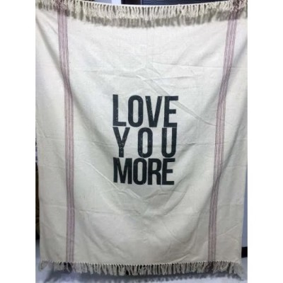 "Jeté décorative  50"" x 60"" . 80% cotton, 20% polyester. Love You More"