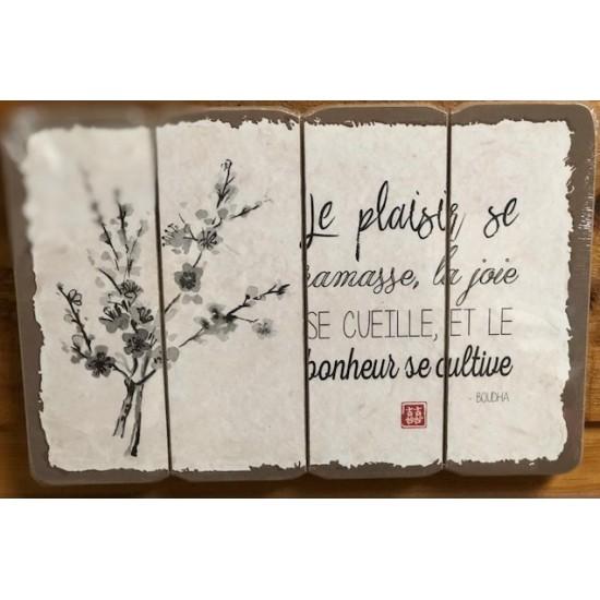 Art mural/ Plaque de Bois/Le Plaisir/Bonheur se Cultive.../24x36x1.8CM