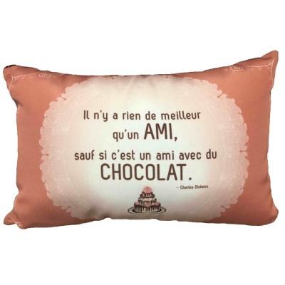Coussin Meilleur qu'un ami sauf ami avec chocolat