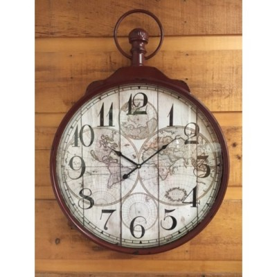 Metal and glass  Wall Clock World Map /60x6x83