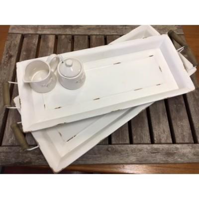 Ensemble de 2 cabarets rectangulaire de métal Blanc /L71x29,5x75cm / S65,5x25,5x7cm