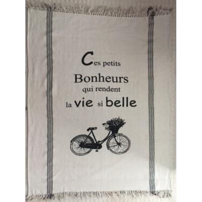 """Jeté décorative  50"""" x 60"""" . 80% cotton, 20% polyester. Ces Petits Bonheurs..."""