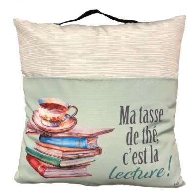 Coussin De lecture Avec Pochette Pour Livres Et Poignée/ Ma tasse de thé