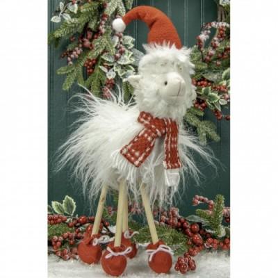 """6.75X3.5X15.75""""H Lama fabriqué de tissus avec patte en bambou, botte rouge et chapeaux du père Noël"""