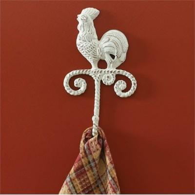 """Crochets de Fonte de style rusique Coq couleur crème 10"""" H x 5 3/4"""" W x 2"""" D"""