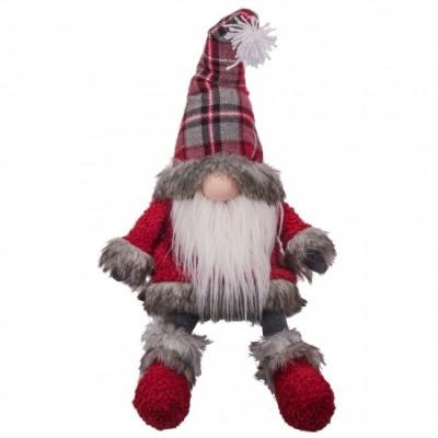 """8X10X16""""H Lutin fait de tissus avec manteau rouge et gris avec chapeau carrelé"""