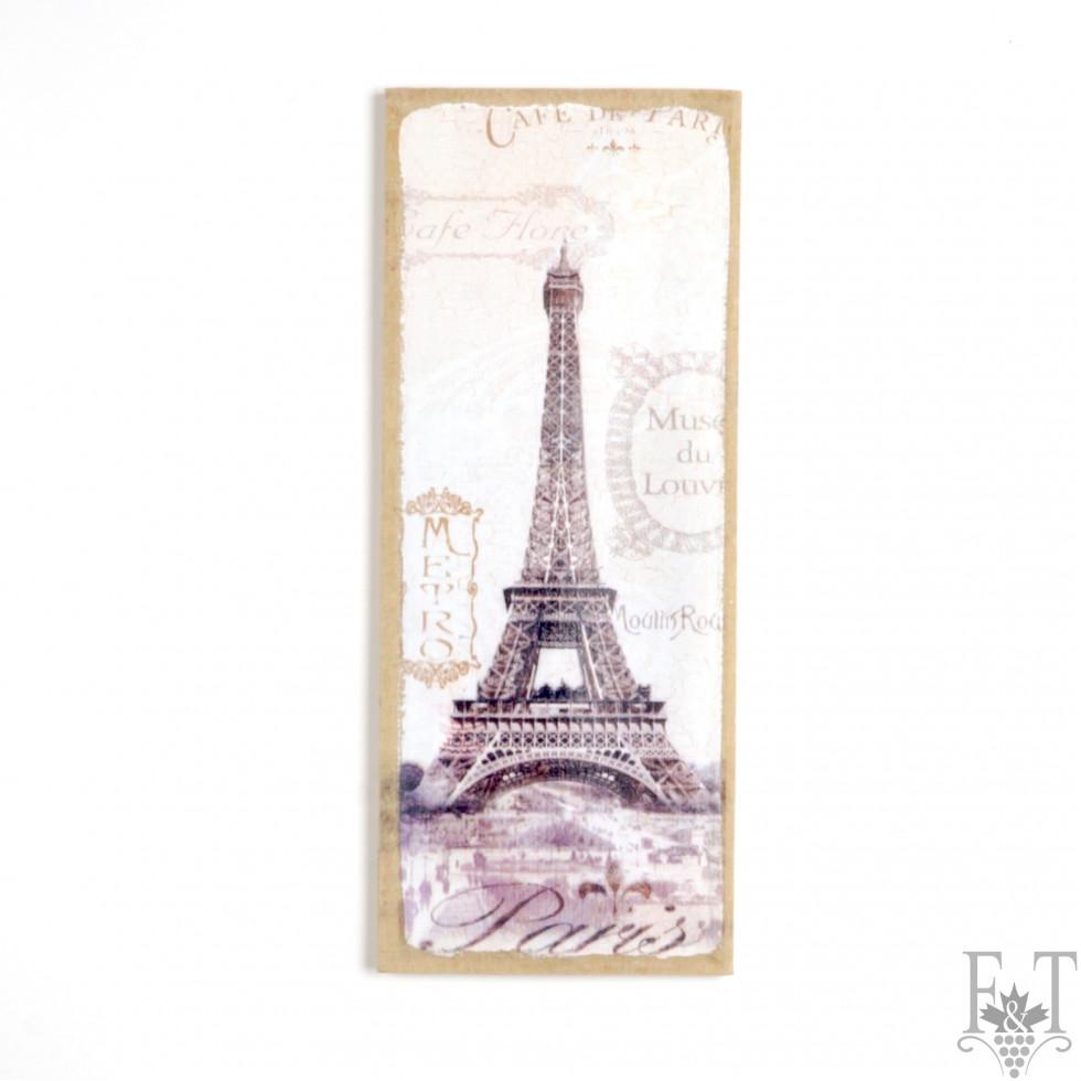 toile avec fond en jute la tour eiffel 20 cm x 50 cm boutique folie folie. Black Bedroom Furniture Sets. Home Design Ideas
