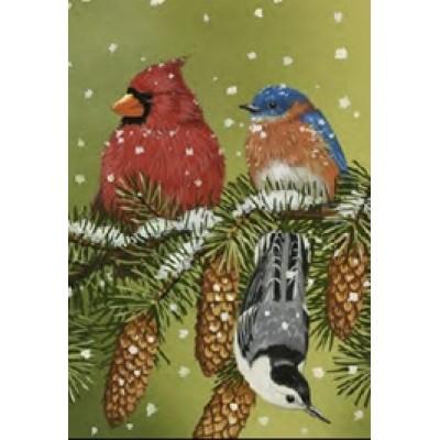 Drapeaux décoratifs 28 x 40 pouces, Oiseaux d'hiver