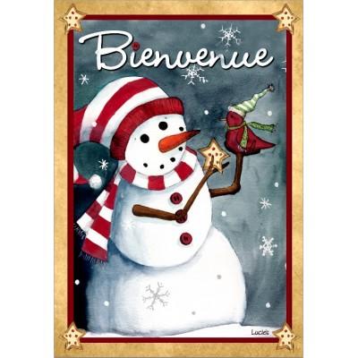 """Drapeau décoratif 28"""" x 40"""",Bienvenue Bonhomme"""
