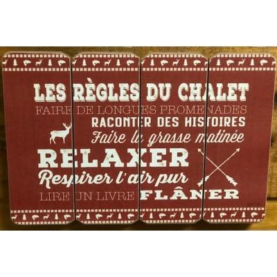 Art mural/ Plaque de Bois/Les Règles du chalet... /24x36x1.8CM