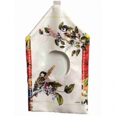 """Oiseaux /Sac à épingle à linge, fabriqué en polyester de 10,15"""" x 19,3"""" de haut incluant l'anneau d'accrochage."""