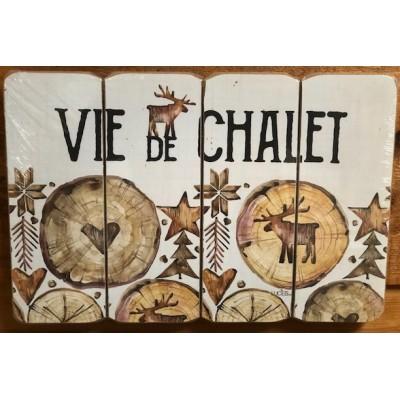Art mural/ Plaque de Bois/Vie de chalet /24x36x1.8CM