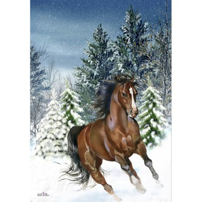 """Drapeau décoratif 28"""" x 40"""",Cheval d'hiver"""