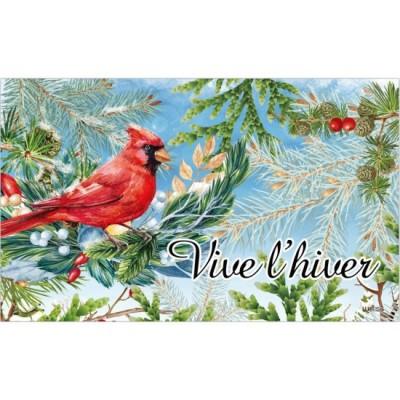 """Tapis décoratifs 30"""" x 18""""Cardinal en Hiver"""