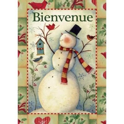 """Drapeau décoratif 28"""" x 40""""Bienvenue Bonhomme"""